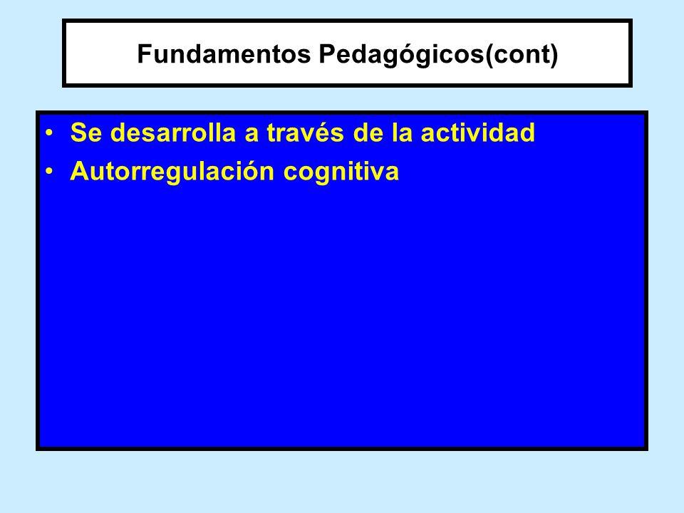 Fundamentos Pedagógicos(cont) Se desarrolla a través de la actividad Autorregulación cognitiva