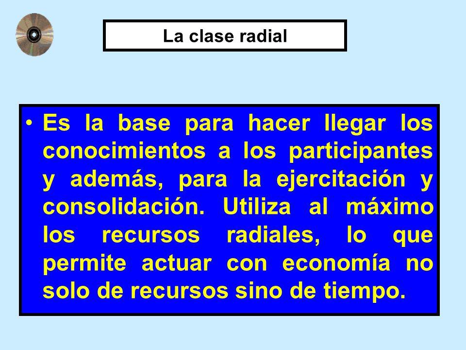 La clase radial Es la base para hacer llegar los conocimientos a los participantes y además, para la ejercitación y consolidación. Utiliza al máximo l