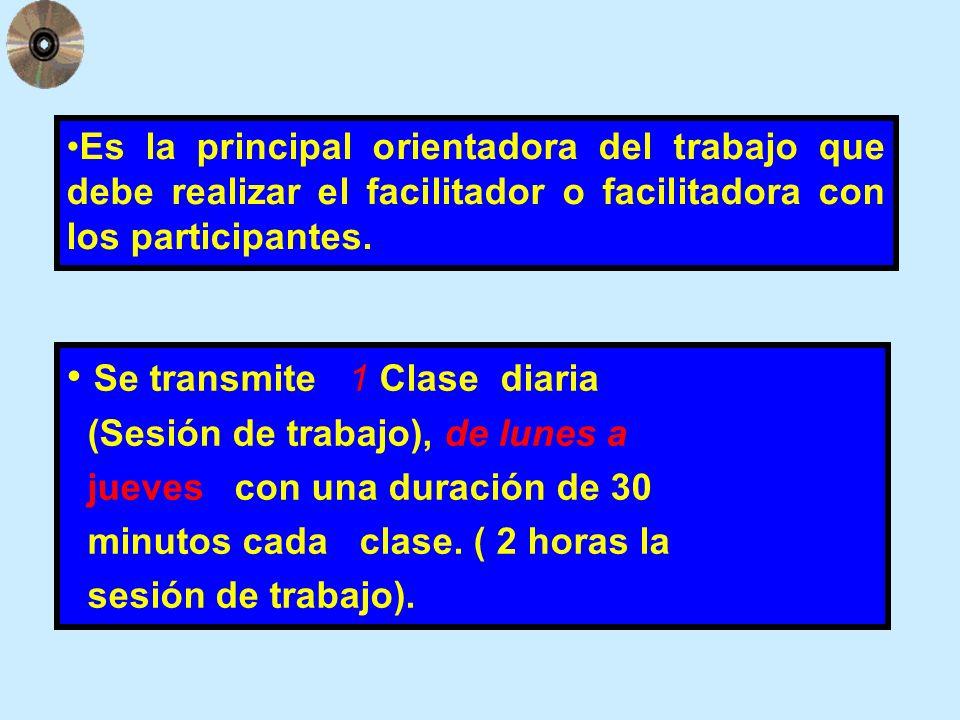 Se transmite 1 Clase diaria (Sesión de trabajo), de lunes a jueves con una duración de 30 minutos cada clase. ( 2 horas la sesión de trabajo). Es la p