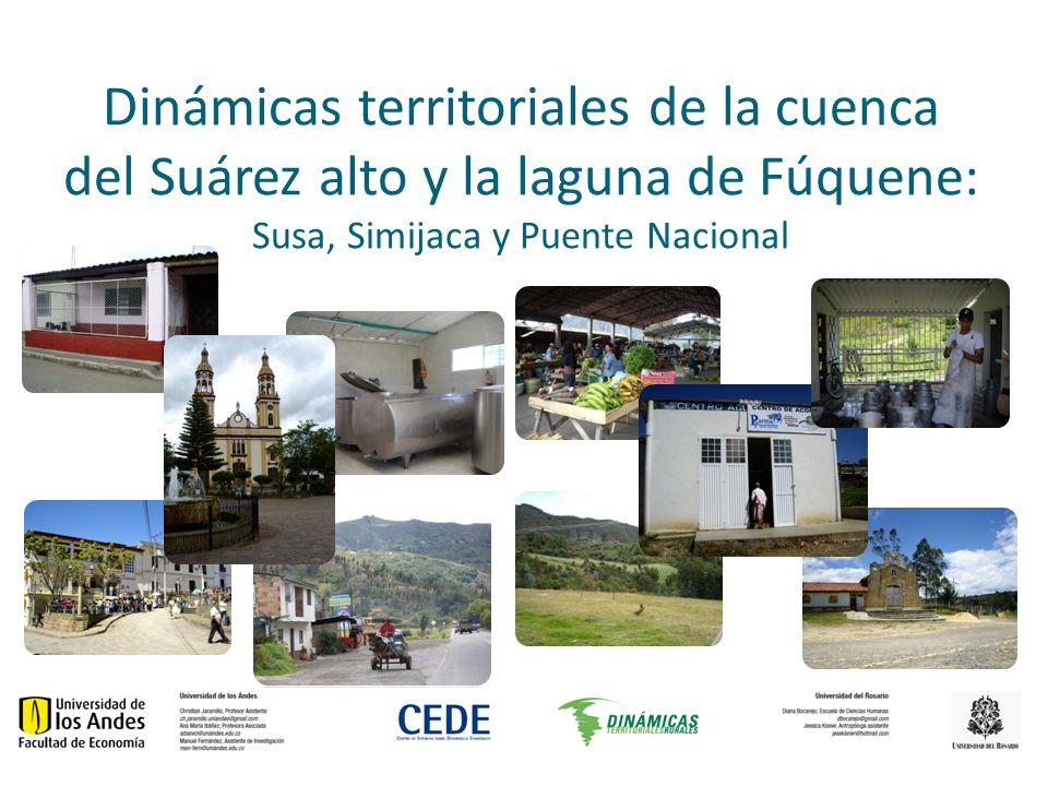 mapa MUNICIPIO UBICACIÓN (MSNM) DISTANCIA DE BOGOTÁ TEMPERATURA PROMEDIO PISOS TÉRMICOS ÁREA DE MUNICIPIO SUSA, CUNDINAMARCA2.586120 KM14°Frío y páramo 111 KM2 SIMIJACA, CUNDINAMARCA2.559136 KM14°Frío y páramo 99 KM2 PUENTE NACIONAL, SANTANDER 1.625165 KM22°Medio, frío, páramo 273 KM2