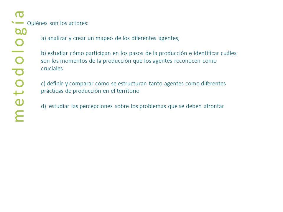 metodología Quiénes son los actores: a) analizar y crear un mapeo de los diferentes agentes; b) estudiar cómo participan en los pasos de la producción