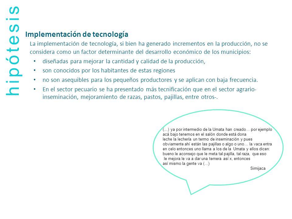 hipótesis Implementación de tecnología La implementación de tecnología, si bien ha generado incrementos en la producción, no se considera como un fact