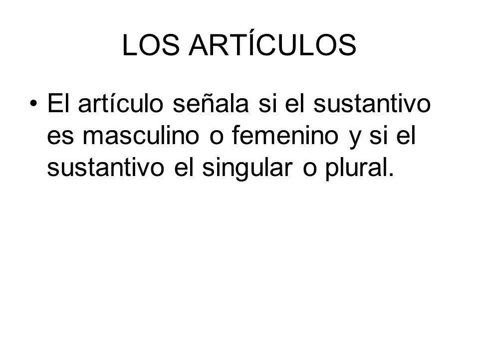 LOS ARTÍCULOS El artículo señala si el sustantivo es masculino o femenino y si el sustantivo el singular o plural.