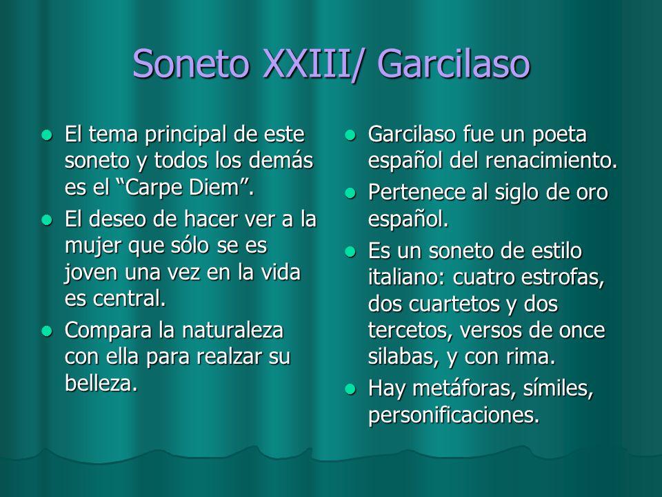 Soneto XXIII/ Garcilaso El tema principal de este soneto y todos los demás es el Carpe Diem. El tema principal de este soneto y todos los demás es el