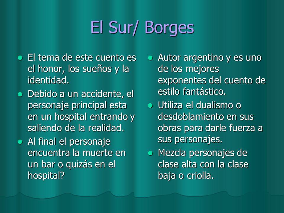 El Sur/ Borges El tema de este cuento es el honor, los sueños y la identidad. El tema de este cuento es el honor, los sueños y la identidad. Debido a