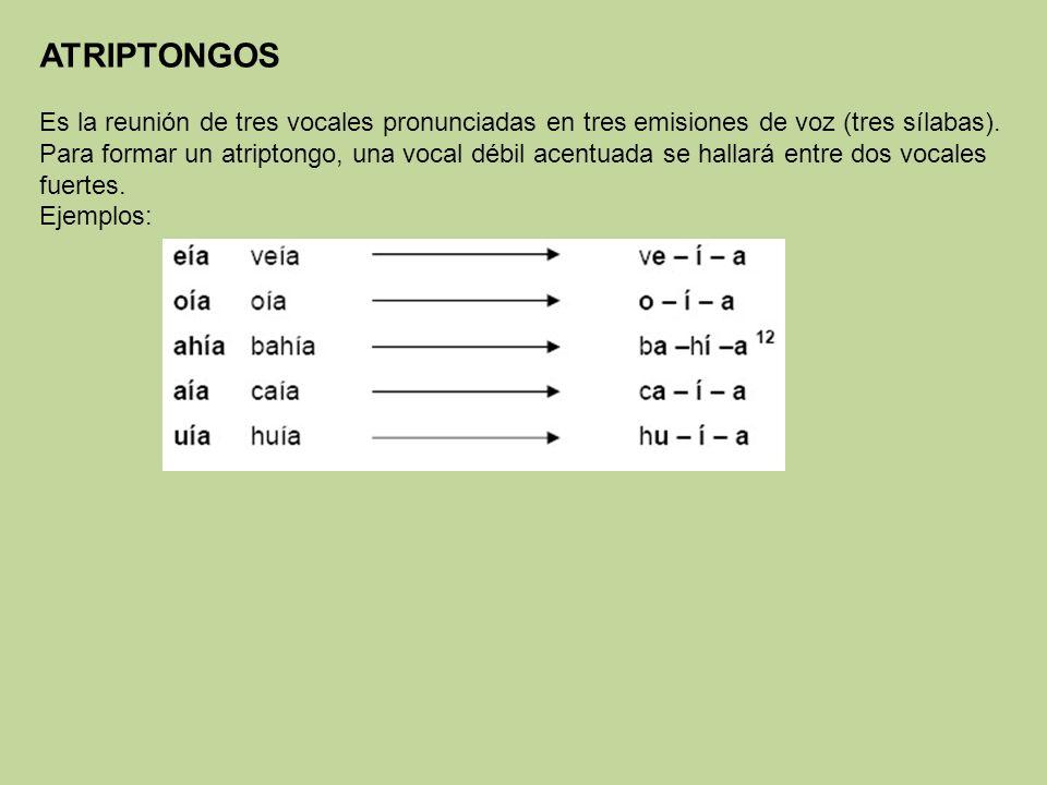 ATRIPTONGOS Es la reunión de tres vocales pronunciadas en tres emisiones de voz (tres sílabas). Para formar un atriptongo, una vocal débil acentuada s