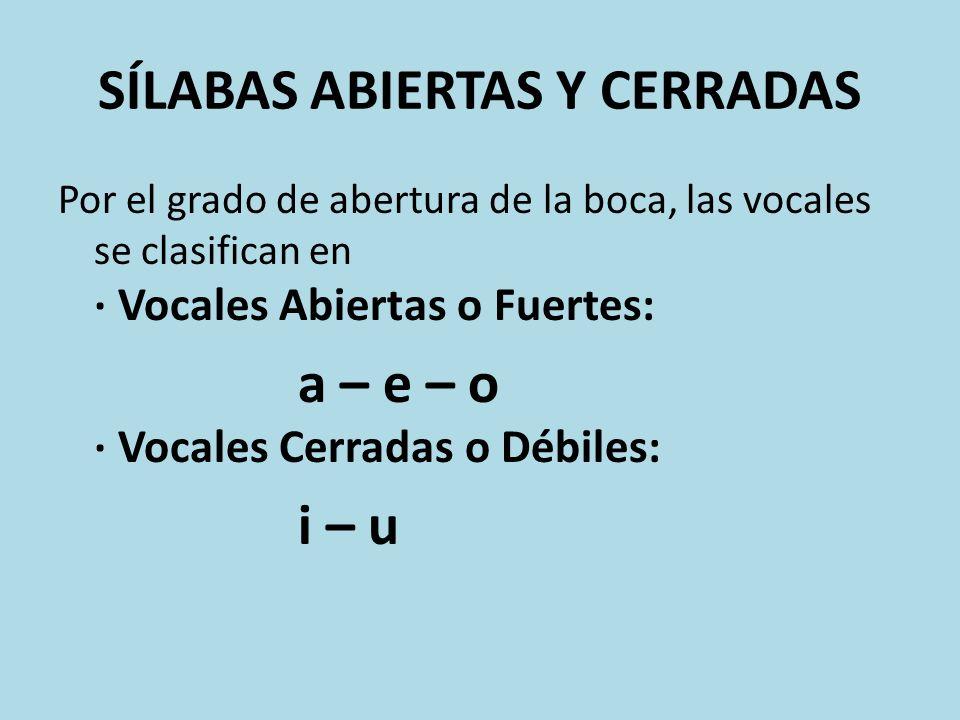 SÍLABAS ABIERTAS Y CERRADAS Por el grado de abertura de la boca, las vocales se clasifican en · Vocales Abiertas o Fuertes: a – e – o · Vocales Cerrad
