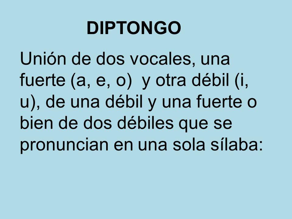DIPTONGO Unión de dos vocales, una fuerte (a, e, o) y otra débil (i, u), de una débil y una fuerte o bien de dos débiles que se pronuncian en una sola