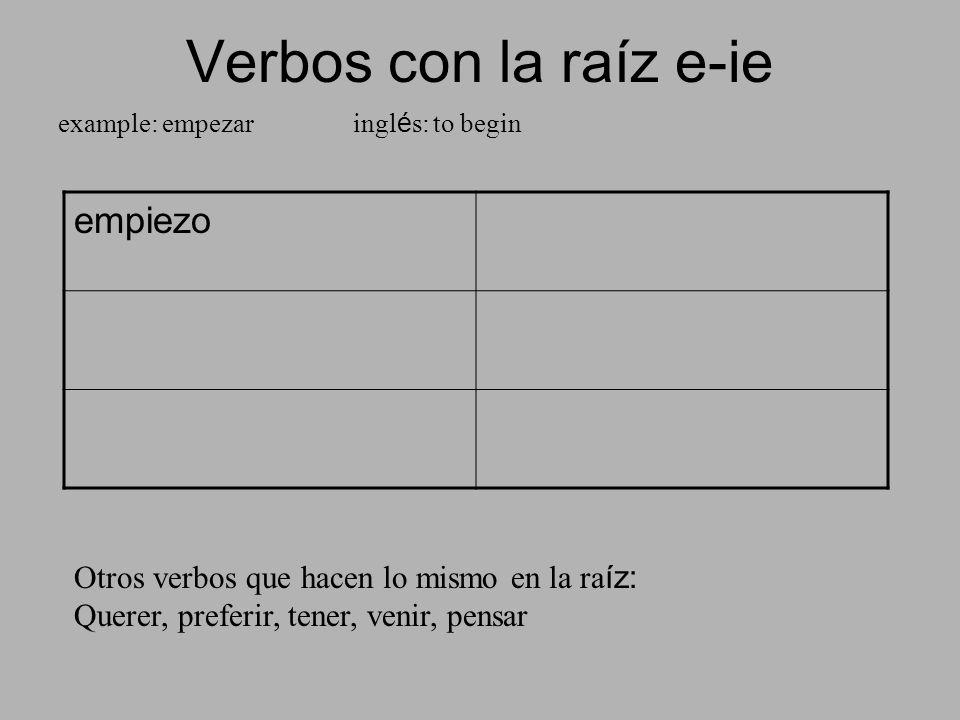 Verbos con la raíz e-ie example: empezar ingl é s: to begin empiezo Otros verbos que hacen lo mismo en la ra íz: Querer, preferir, tener, venir, pensa