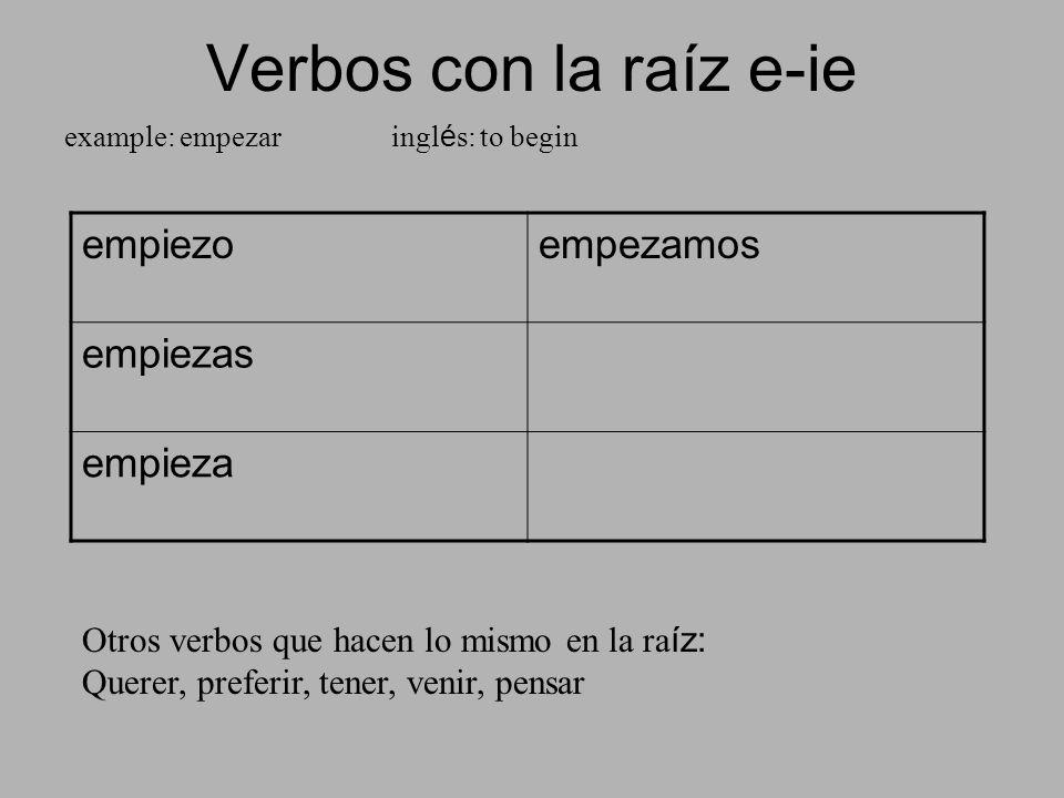 Verbos con la raíz e-ie example: empezar ingl é s: to begin empiezoempezamos empiezas empieza Otros verbos que hacen lo mismo en la ra íz: Querer, pre
