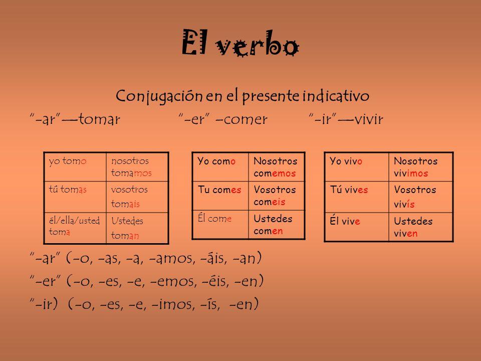 El verbo Conjugación en el presente indicativo -artomar -er –comer -irvivir -ar (-o, -as, -a, -amos, -áis, -an) -er (-o, -es, -e, -emos, -éis, -en) -i