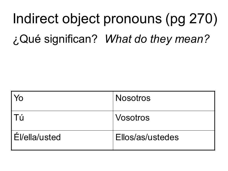 Indirect object pronouns (pg 270) ¿Qué significan? What do they mean? YoNosotros TúTúVosotros Él/ella/ustedEllos/as/ustedes
