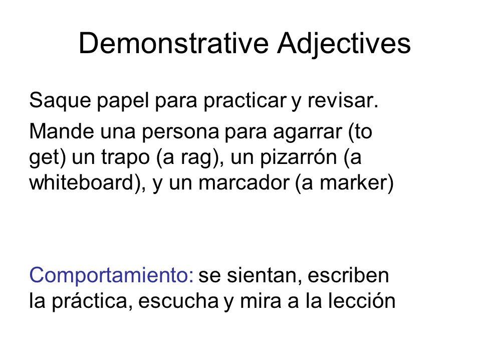 Demonstrative Adjectives Saque papel para practicar y revisar. Mande una persona para agarrar (to get) un trapo (a rag), un pizarrón (a whiteboard), y
