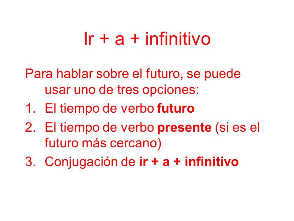 Ir + a + infinitivo Para hablar sobre el futuro, se puede usar uno de tres opciones: 1.El tiempo de verbo futuro 2.El tiempo de verbo presente (si es