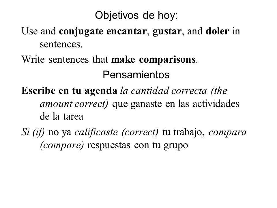 Objetivos de hoy: Use and conjugate encantar, gustar, and doler in sentences. Write sentences that make comparisons. Pensamientos Escribe en tu agenda