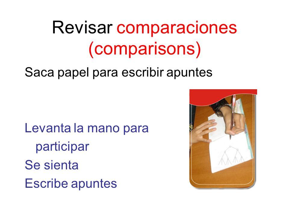 Revisar comparaciones (comparisons) Saca papel para escribir apuntes Levanta la mano para participar Se sienta Escribe apuntes