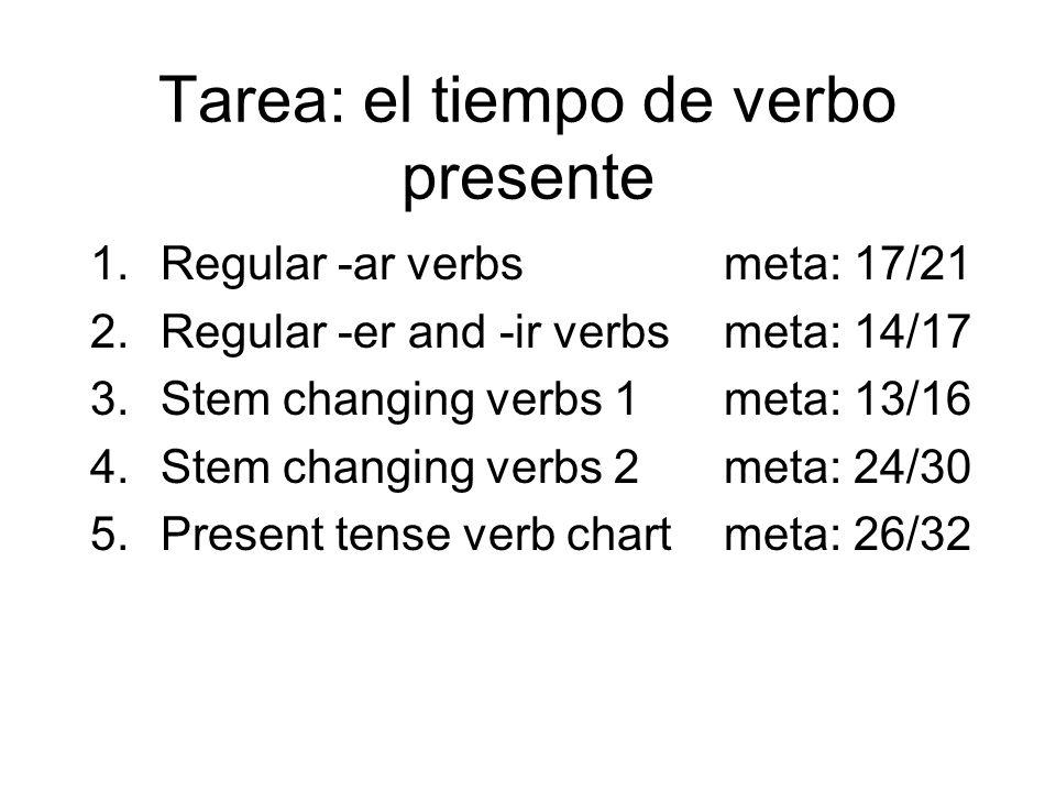 Tarea: el tiempo de verbo presente 1.Regular -arverbsmeta: 17/21 2.Regular -er and -ir verbsmeta: 14/17 3.Stem changing verbs 1meta: 13/16 4.Stem chan
