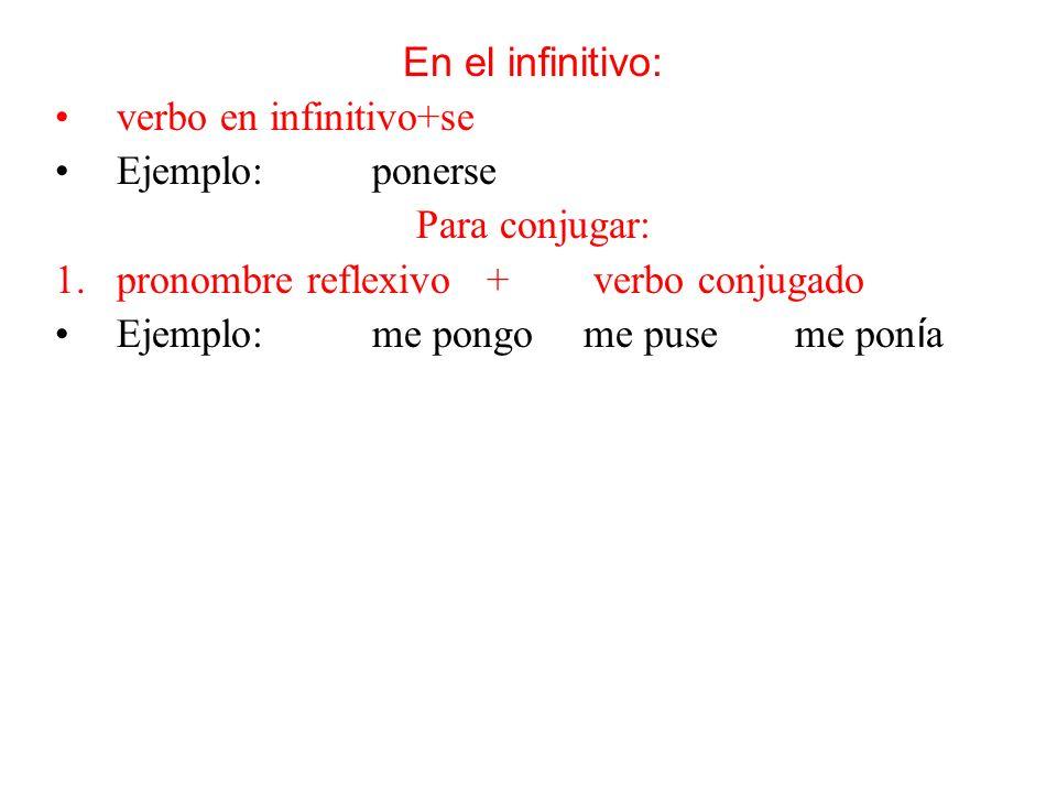 En el infinitivo: verbo en infinitivo+se Ejemplo:ponerse Para conjugar: 1.pronombre reflexivo + verbo conjugado Ejemplo:me pongome puseme pon í a Para conjugar en el presente progresivo o pasado continuo: 2.pronombre reflexivo + estar + gerundio Ejemplo: me estoy poniendo me estaba poniendo