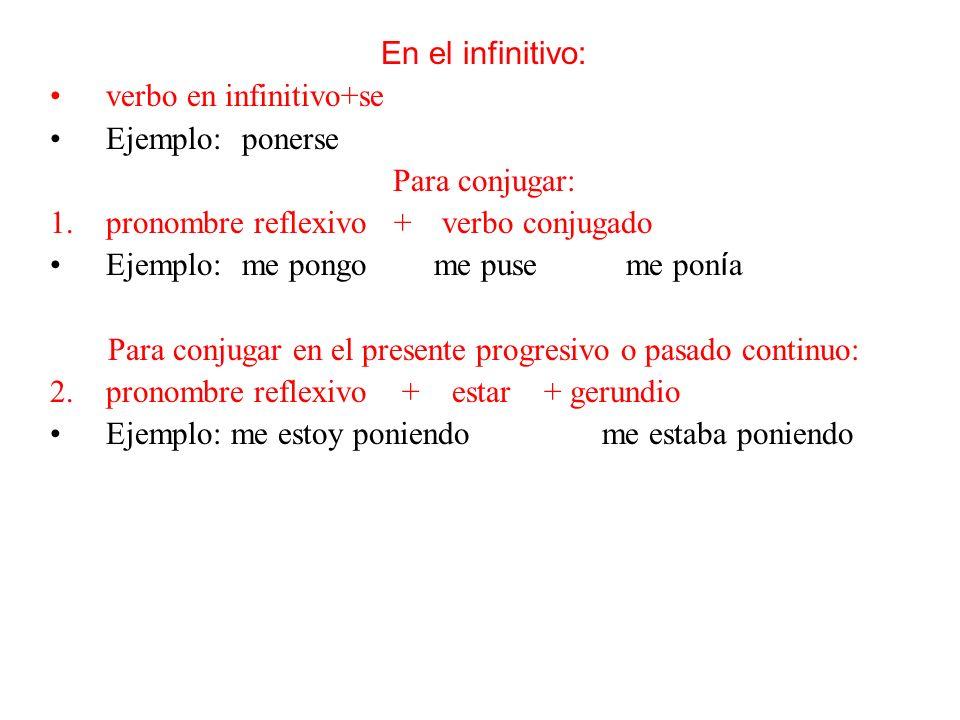 En el infinitivo: verbo en infinitivo+se Ejemplo:ponerse Para conjugar: 1.pronombre reflexivo + verbo conjugado Ejemplo:me pongome puseme pon í a Para conjugar en el presente progresivo o pasado continuo: 2.pronombre reflexivo + estar + gerundio Ejemplo: me estoy poniendo me estaba poniendo 3.
