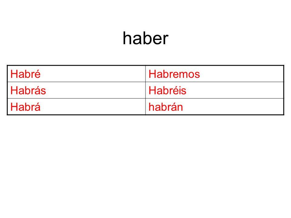 haber HabréHabremos HabrásHabréis Habráhabrán