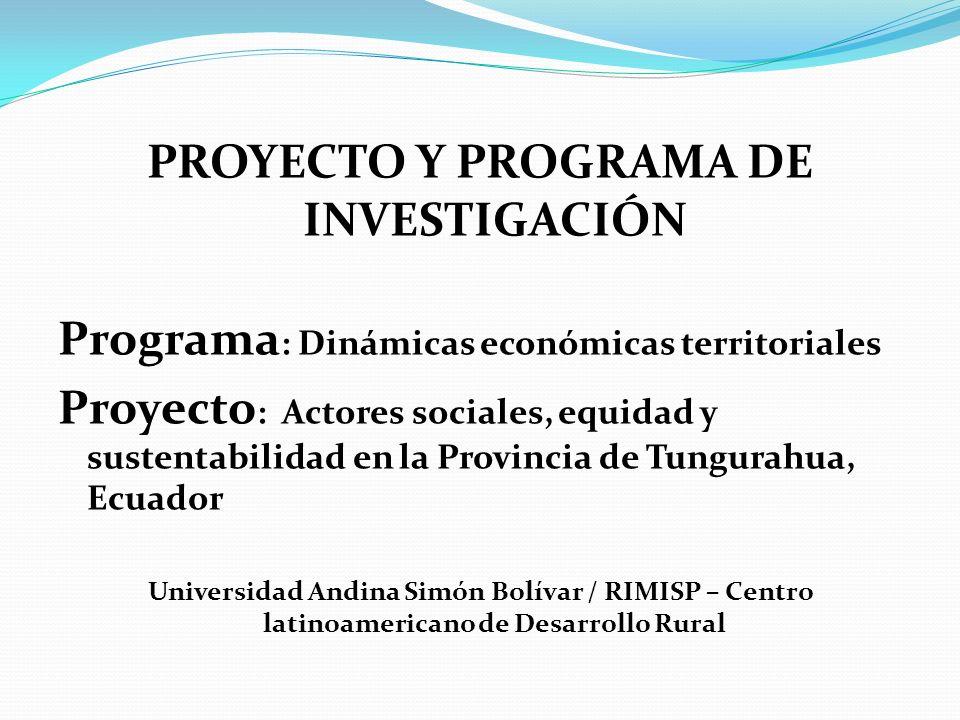 PROYECTO Y PROGRAMA DE INVESTIGACIÓN Programa : Dinámicas económicas territoriales Proyecto : Actores sociales, equidad y sustentabilidad en la Provincia de Tungurahua, Ecuador Universidad Andina Simón Bolívar / RIMISP – Centro latinoamericano de Desarrollo Rural