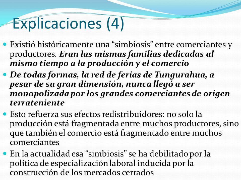 Explicaciones (4) Existió históricamente una simbiosis entre comerciantes y productores. Eran las mismas familias dedicadas al mismo tiempo a la produ