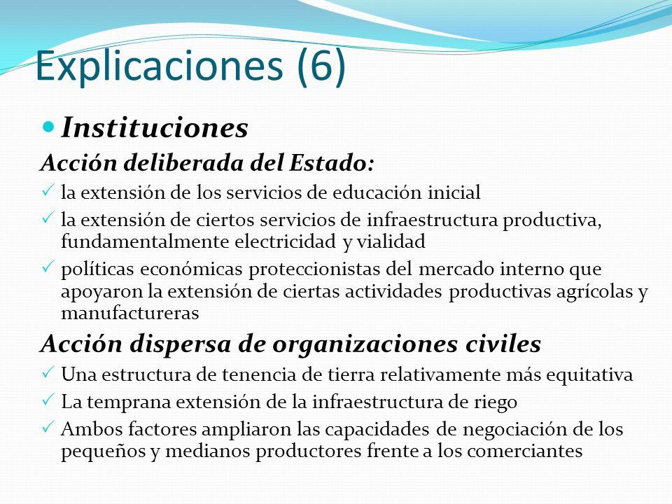 Explicaciones (6) Instituciones Acción deliberada del Estado: la extensión de los servicios de educación inicial la extensión de ciertos servicios de
