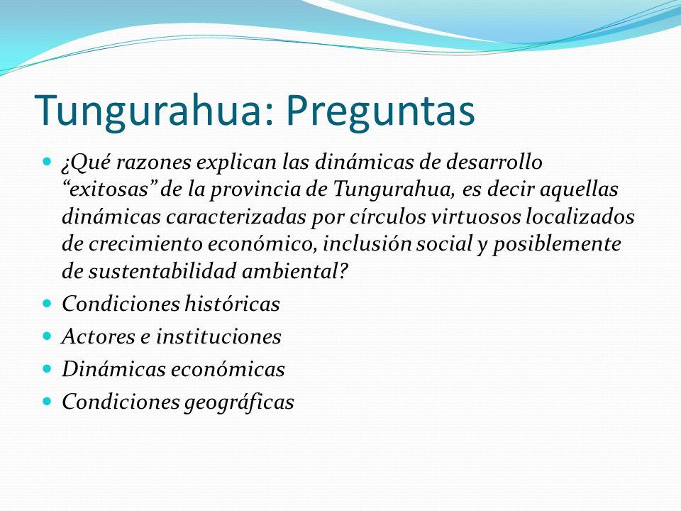 Tungurahua: Preguntas ¿Qué razones explican las dinámicas de desarrollo exitosas de la provincia de Tungurahua, es decir aquellas dinámicas caracterizadas por círculos virtuosos localizados de crecimiento económico, inclusión social y posiblemente de sustentabilidad ambiental.