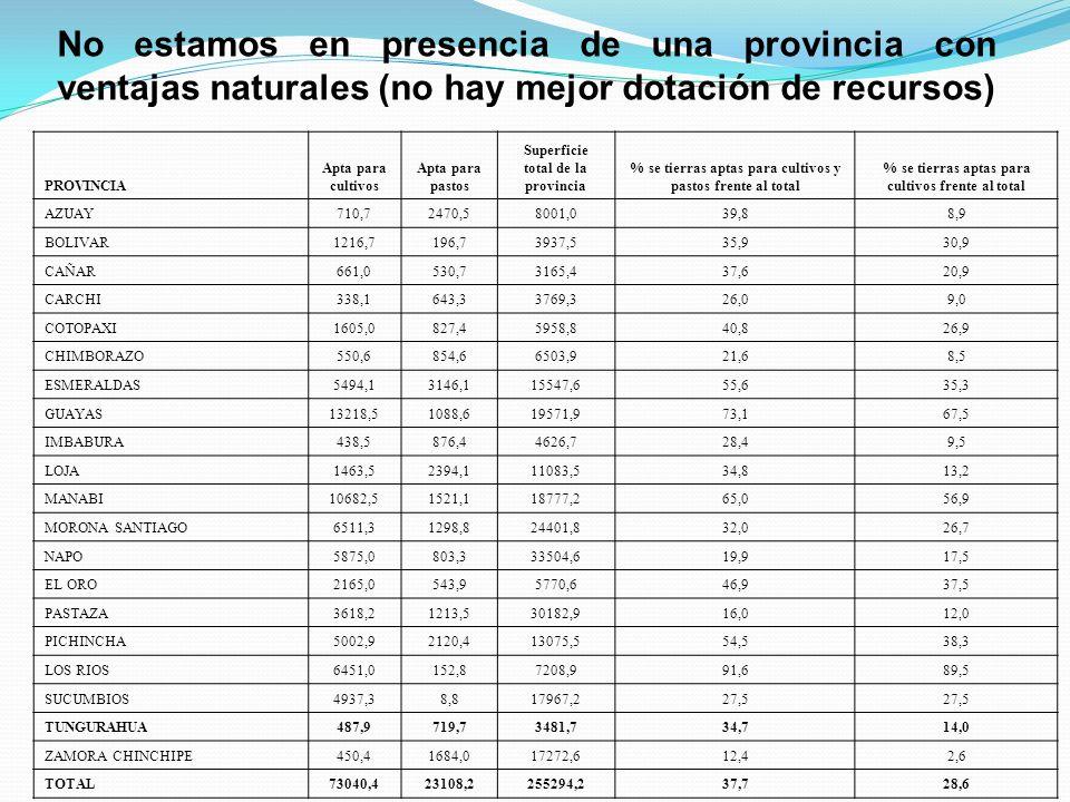 No estamos en presencia de una provincia con ventajas naturales (no hay mejor dotación de recursos) PROVINCIA Apta para cultivos Apta para pastos Superficie total de la provincia % se tierras aptas para cultivos y pastos frente al total % se tierras aptas para cultivos frente al total AZUAY710,72470,58001,039,88,9 BOLIVAR1216,7196,73937,535,930,9 CA Ñ AR 661,0530,73165,437,620,9 CARCHI338,1643,33769,326,09,0 COTOPAXI1605,0827,45958,840,826,9 CHIMBORAZO550,6854,66503,921,68,5 ESMERALDAS5494,13146,115547,655,635,3 GUAYAS13218,51088,619571,973,167,5 IMBABURA438,5876,44626,728,49,5 LOJA1463,52394,111083,534,813,2 MANABI10682,51521,118777,265,056,9 MORONA SANTIAGO6511,31298,824401,832,026,7 NAPO5875,0803,333504,619,917,5 EL ORO2165,0543,95770,646,937,5 PASTAZA3618,21213,530182,916,012,0 PICHINCHA5002,92120,413075,554,538,3 LOS RIOS6451,0152,87208,991,689,5 SUCUMBIOS4937,38,817967,227,5 TUNGURAHUA487,9719,73481,734,714,0 ZAMORA CHINCHIPE450,41684,017272,612,42,6 TOTAL73040,423108,2255294,237,728,6