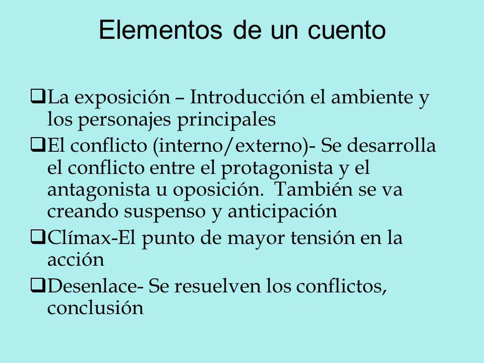 Elementos de un cuento La exposición – Introducción el ambiente y los personajes principales El conflicto (interno/externo)- Se desarrolla el conflict