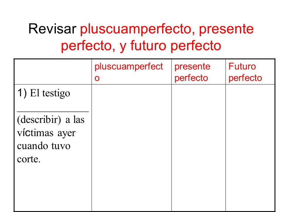 Revisar pluscuamperfecto, presente perfecto, y futuro perfecto pluscuamperfect o presente perfecto Futuro perfecto 1) El testigo _____________ (descri
