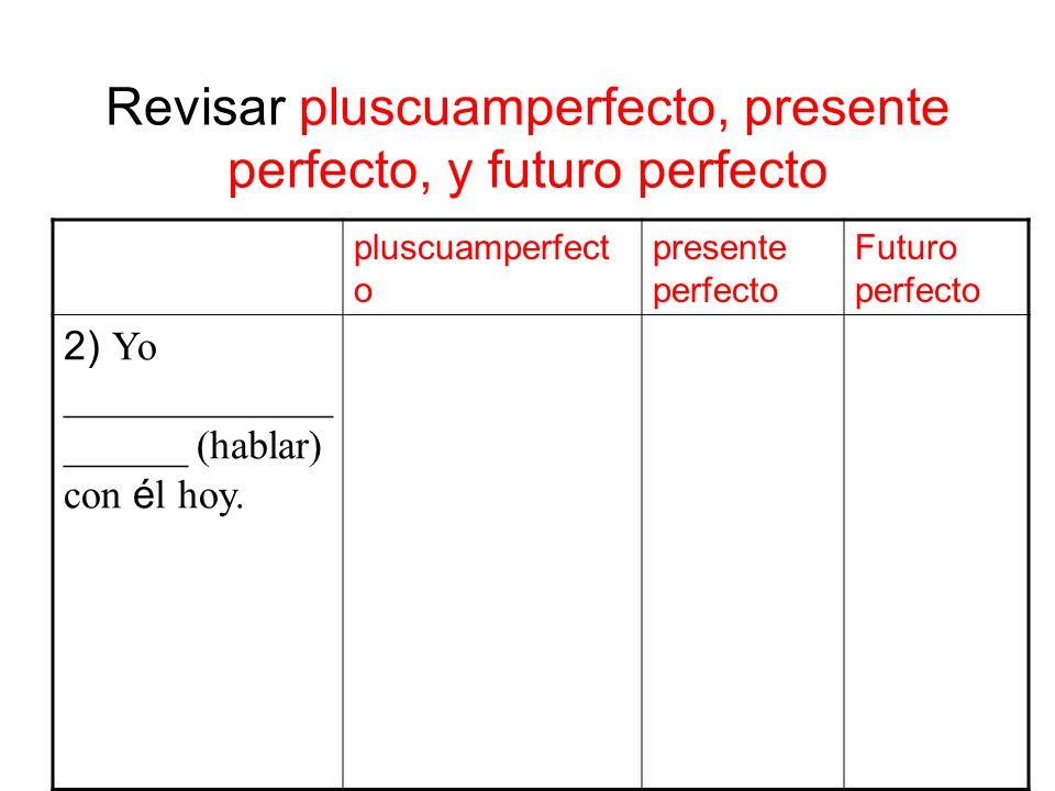 Revisar pluscuamperfecto, presente perfecto, y futuro perfecto pluscuamperfect o presente perfecto Futuro perfecto 2) Yo _____________ ______ (hablar) con é l hoy.