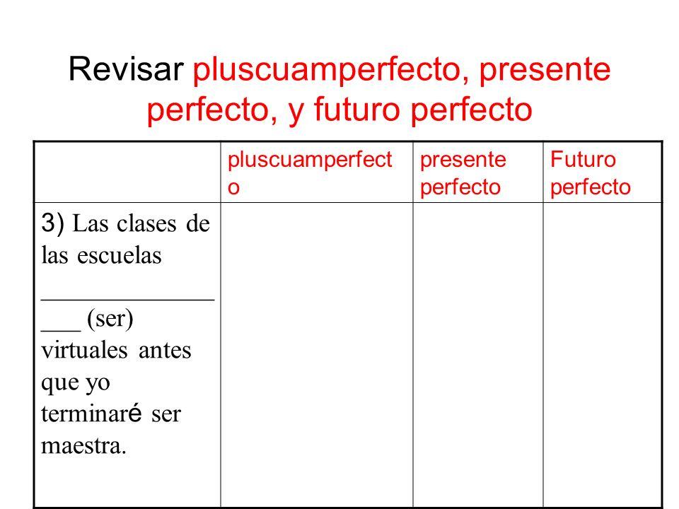 Revisar pluscuamperfecto, presente perfecto, y futuro perfecto pluscuamperfect o presente perfecto Futuro perfecto 3) Las clases de las escuelas _____