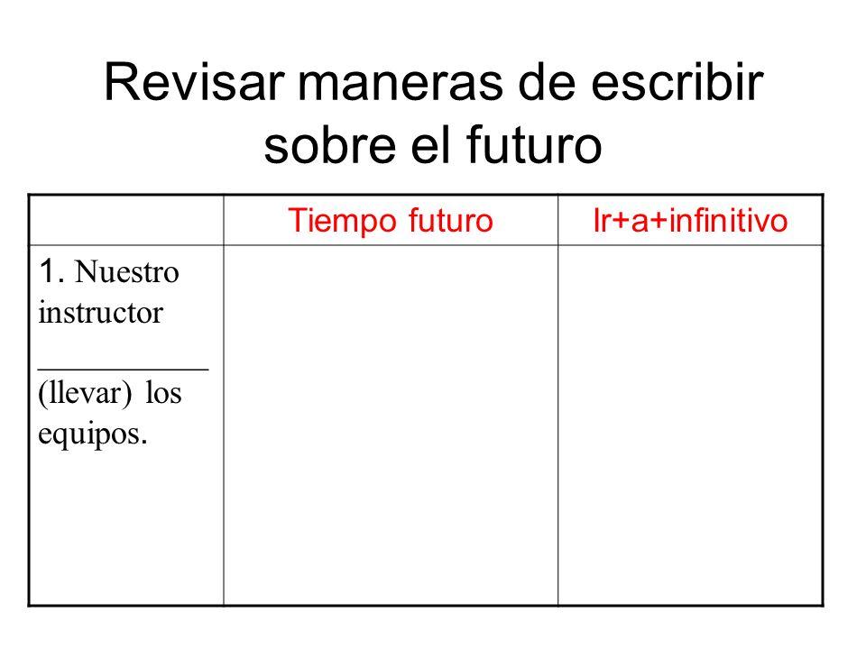 Revisar maneras de escribir sobre el futuro Tiempo futuroIr+a+infinitivo 1. Nuestro instructor __________ (llevar) los equipos.