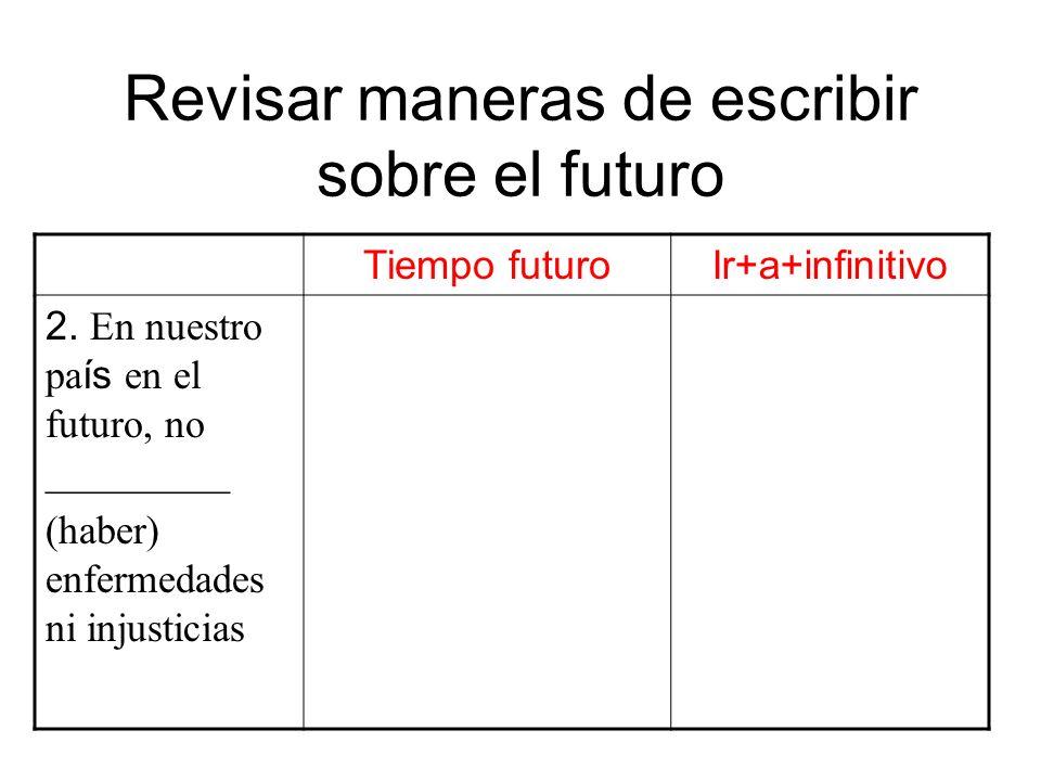Revisar maneras de escribir sobre el futuro Tiempo futuroIr+a+infinitivo 2. En nuestro pa ís en el futuro, no _________ (haber) enfermedades ni injust