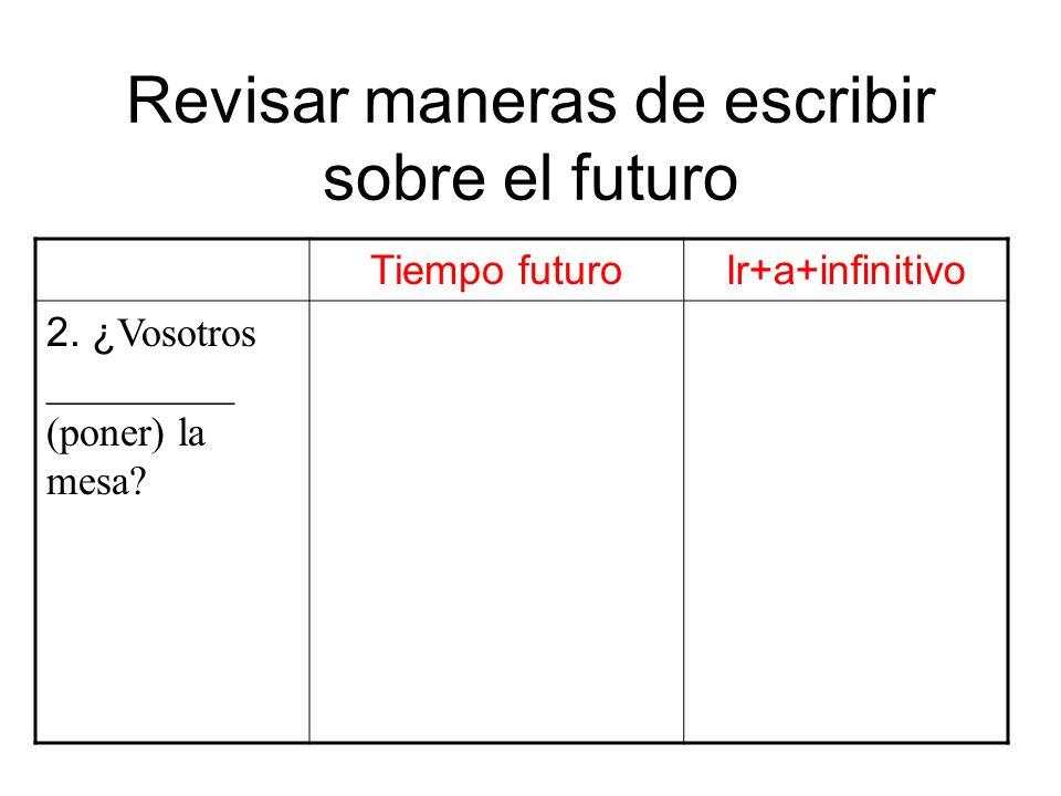 Revisar maneras de escribir sobre el futuro Tiempo futuroIr+a+infinitivo 2. ¿ Vosotros _________ (poner) la mesa?