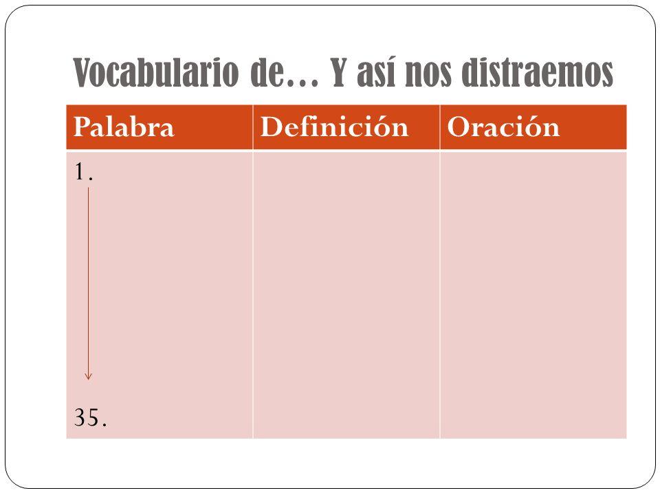 Vocabulario de… Y así nos distraemos PalabraDefiniciónOración 1. 35.