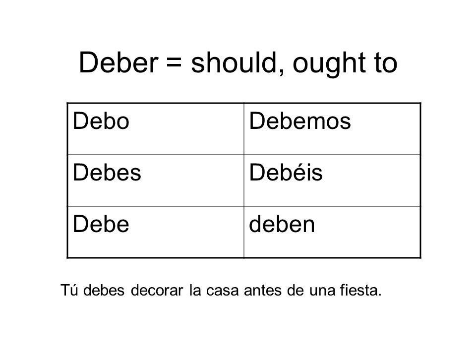 Deber = should, ought to DeboDebemos DebesDebéis Debedeben Tú debes decorar la casa antes de una fiesta.