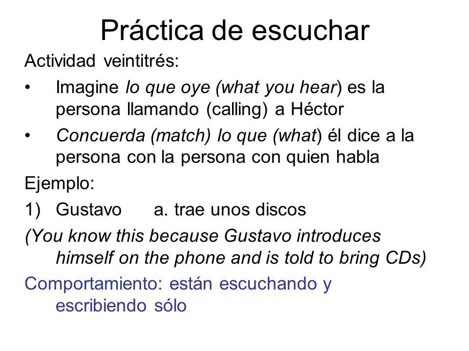 Práctica de escuchar Actividad veintitrés: Imagine lo que oye (what you hear) es la persona llamando (calling) a Héctor Concuerda (match) lo que (what
