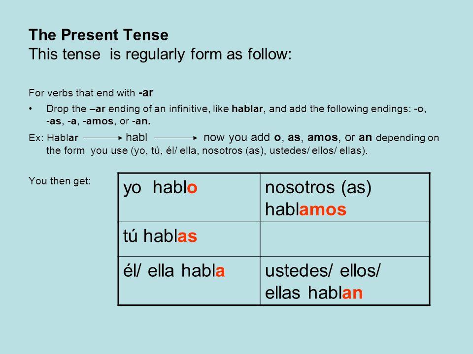 For verbs that end with -er Drop the – er ending of the infinitive, like beber, and add the following endings: -o, -es, -e, -emos, or –en Ex: beber beb now you add o, es, emos, or en depending on the form you use (yo, tú, él/ ella, nosotros (as), ustedes/ ellos/ ellas).