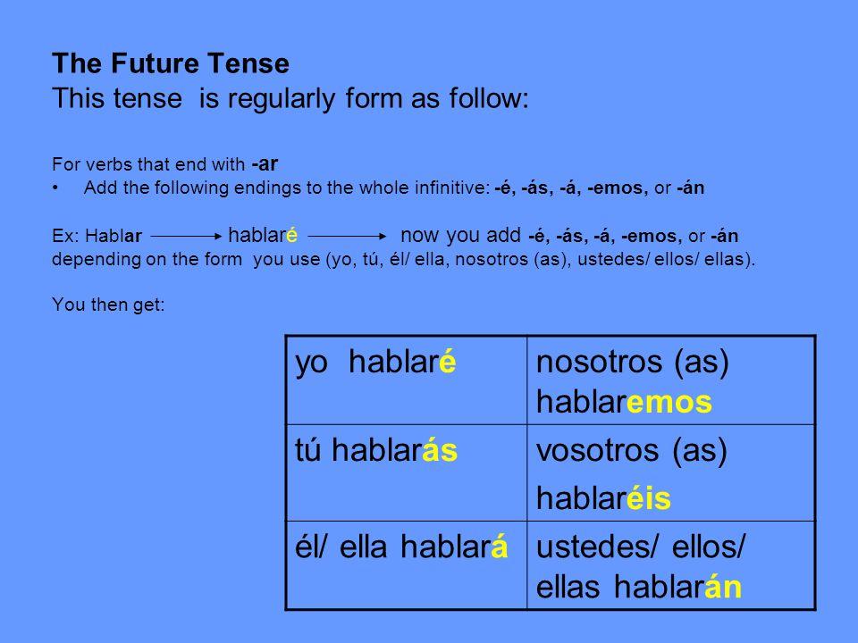 For verbs that end with -er Add the following endings to the whole infinitive: -é, -ás, -á, -emos, or -án Ex: beber beberé now you add -é, -ás, -á, -emos, or -án depending on the form you use (yo, tú, él/ ella, nosotros (as), ustedes/ ellos/ ellas).