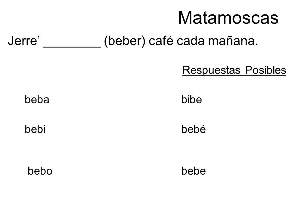 Matamoscas Jerre ________ (beber) café cada mañana. Respuestas Posibles bebabibe bebi bebé bebobebe