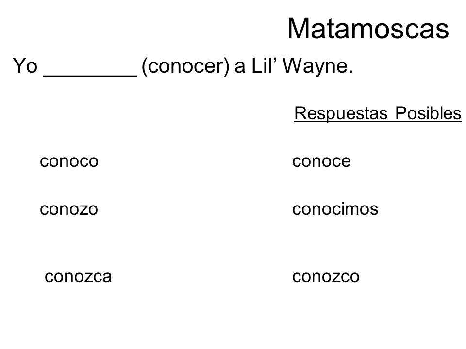 Matamoscas Yo ________ (conocer) a Lil Wayne. Respuestas Posibles conococonoce conozo conocimos conozcaconozco