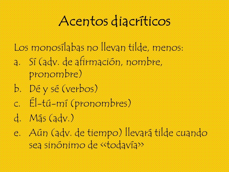 Acentos diacríticos Los monosílabas no llevan tilde, menos: a.Sí (adv.