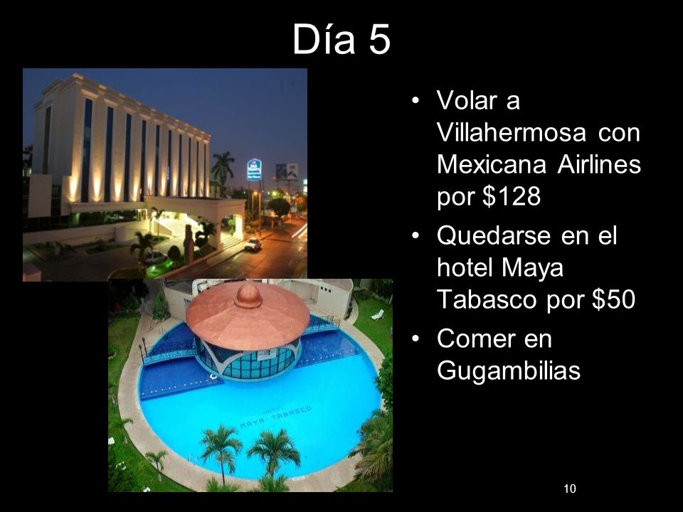 Día 5 Volar a Villahermosa con Mexicana Airlines por $128 Quedarse en el hotel Maya Tabasco por $50 Comer en Gugambilias 10