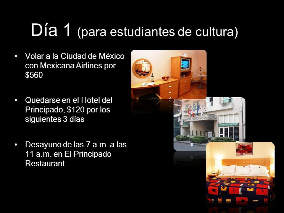 Día 1 (para estudiantes de cultura) Volar a la Ciudad de México con Mexicana Airlines por $560 Quedarse en el Hotel del Principado, $120 por los sigui
