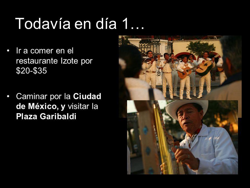 Todavía en día 1… Ir a comer en el restaurante Izote por $20-$35 Caminar por la Ciudad de México, y visitar la Plaza Garibaldi