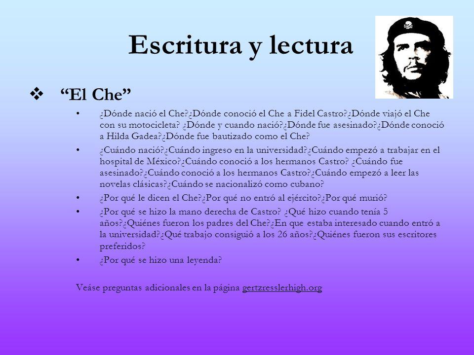 Escritura y lectura El Che ¿Dónde nació el Che?¿Dónde conoció el Che a Fidel Castro?¿Dónde viajó el Che con su motocicleta? ¿Dónde y cuando nació?¿Dón