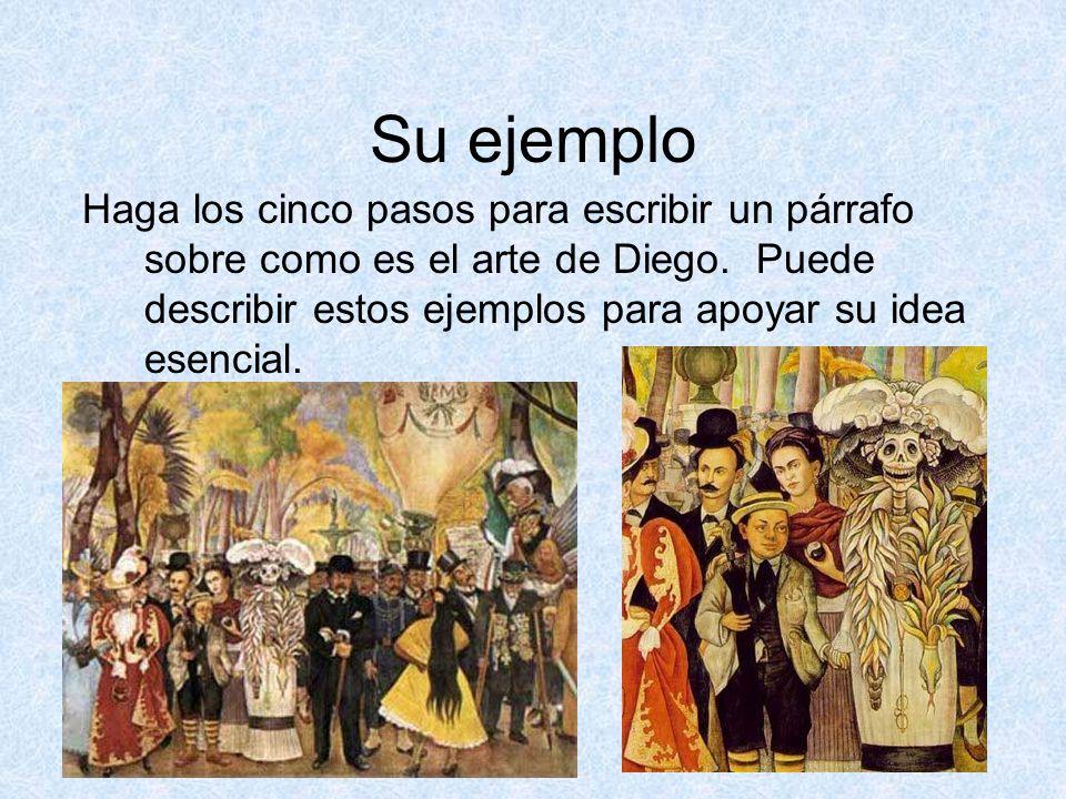 Su ejemplo Haga los cinco pasos para escribir un párrafo sobre como es el arte de Diego. Puede describir estos ejemplos para apoyar su idea esencial.