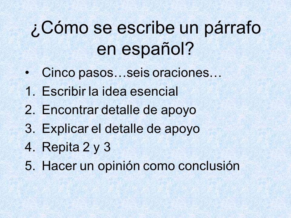 ¿Cómo se escribe un párrafo en español? Cinco pasos…seis oraciones… 1.Escribir la idea esencial 2.Encontrar detalle de apoyo 3.Explicar el detalle de